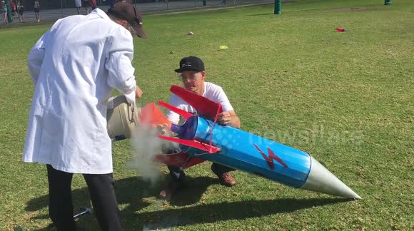 Giant liquid nitrogen bottle rocket 'fail'