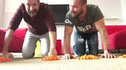 Guys do 22 push-up challenge on Lego blocks