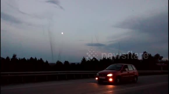 'Mosquito tornadoes' at sunset in Russia