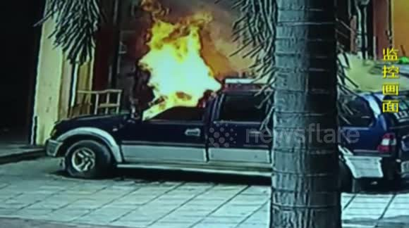 12-year-old boy playing with fire burns a car