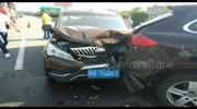 Three-car pile-up in southern China