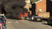Car on fire in Hoxton, London