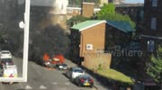 Car on Fire in Hoxton with explosions