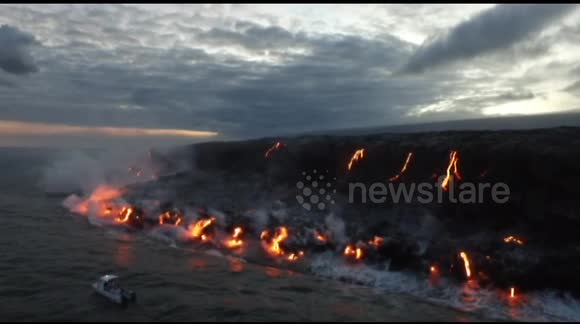 Lava flow hits the ocean on Hawaii's Big Island