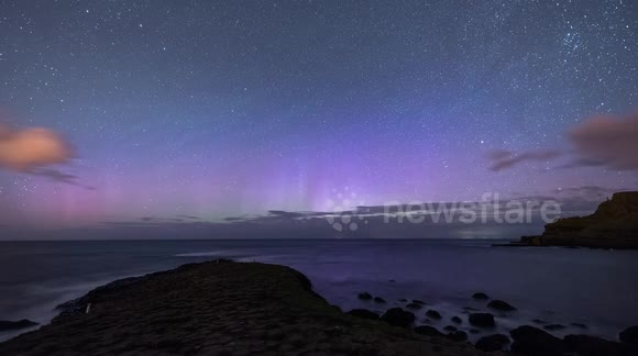 Northern lights observed from the Giant's Causeway