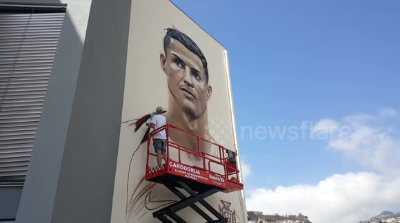 Newsflare cristiano ronaldo wall mural painted by for Cristiano ronaldo wall mural