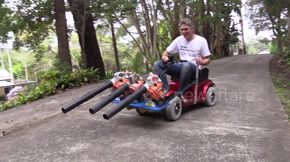 Father invents 'triple leaf blower go-kart' machine