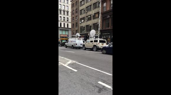 Large number of media gathered in New York after explosion