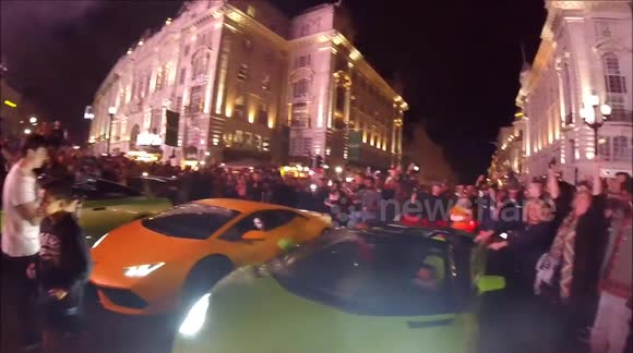 Fleet of supercars block Piccadilly Circus