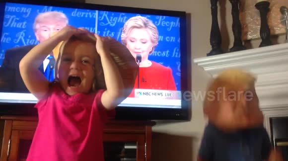 Toddlers in Clinton and Trump masks throw 'tantrum' after watching presidential debate