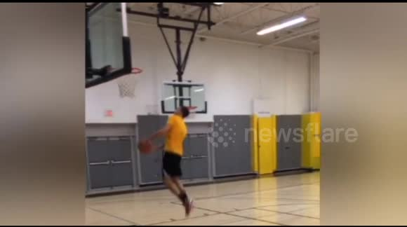 Absolutely incredible basketball trick shot