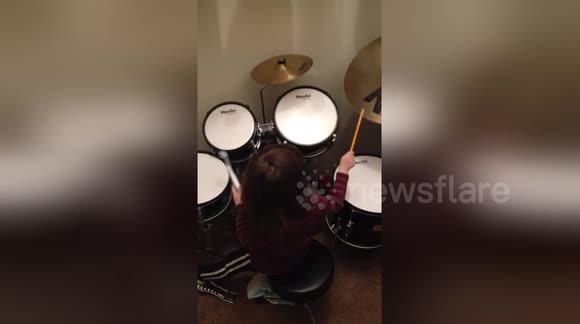 Newsflare Edit - 3 year old drummer prodigy