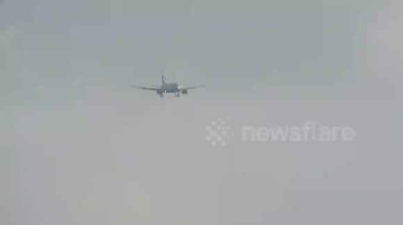 Storm Conor - British Airways in strong winds at Leeds Bradford Airport