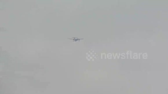 Storm Conor - Flybe struggling in high winds at Leeds Bradford Airport