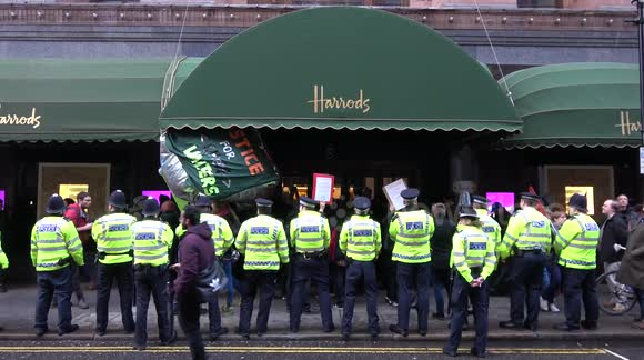 Protesters scuffle with Harrods staff and police
